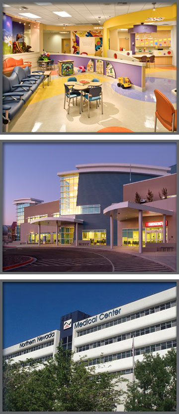 At the top is the inside of the Renown Children's Hospital, the second image is the outside of the South Meadows Renown and the third and last image is of the outside of Northern Nevada Medical Center, all locations have Northern Nevada Emergency Physicians.